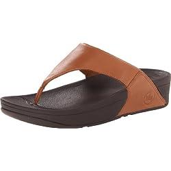 Fitflop Lulu - Sandalias de dedo de cuero para mujer, color marrón , talla 37