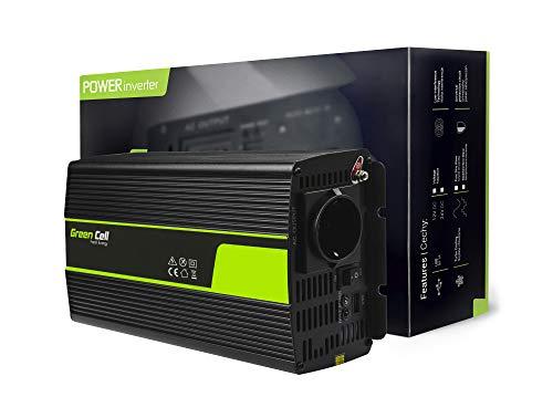 Green Cell® 1000W/2000W Reiner Sinus Spannungswandler Wechselrichter 12V auf 230V Konverter Pure Sine Power Inverter Umwandler für Auto, Direktanschluss an Autobatterie inkl.