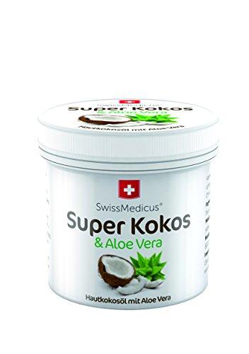 SwissMedicus Super Kokos & Aloe - Kokosöl mit aloe vera, Philippinisches befeuchtend iIntensive Pflege für Gesicht, Körper, Haare, Haut, Lippen, natürlicher Kokosnuss-Duft, 150 ml. (Mascara Zutaten Wasserfeste)