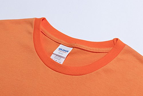BOMOVO Herren STAFF Justin Bieber T-Shirt Sport Rundhals Spaß Motiv Tops Fashion Basic Tee / 980 Orange