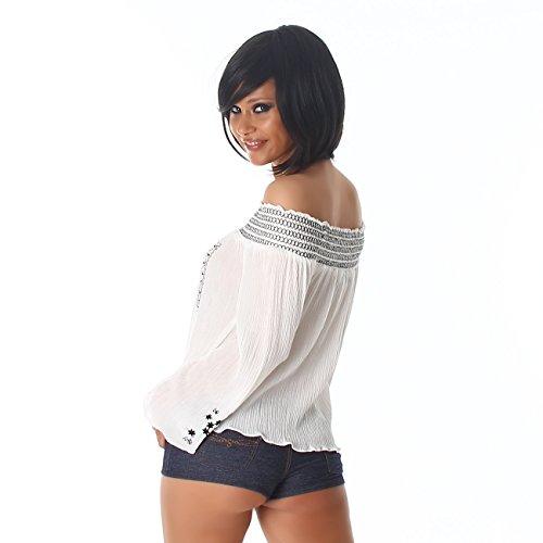 Damen Bluse Hemd Shirt Top Carmen Ausschnitt Sommer Party Latin Farbe Größe Stickerei White