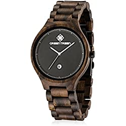 GREENTREEN Men's Bracelet Watch Black sandalwood Watches With Calendar