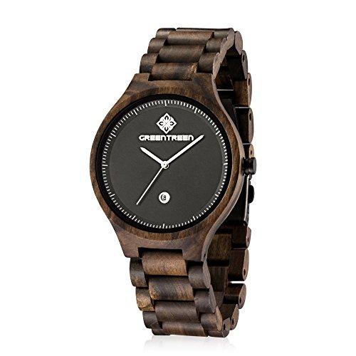 GREENTREEN Herren Armband sehen schwarze Sandelholz mit Kalender Herren-Quarzuhren
