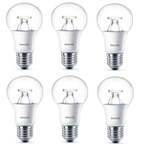 6 x Philips LED Clear E27 60w WarmGlow Edison Dimmable Light Bulbs Lamp 806lm
