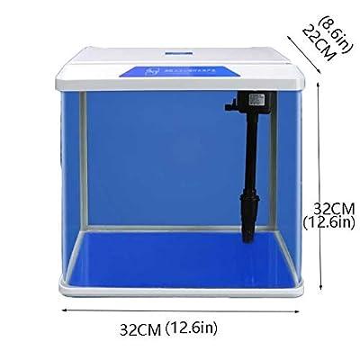 Hjd Aquarien Goldfish Bowl Kleines Aquarium Desktop-Kreativität-Fisch-Behälter mit LED-Beleuchtung, Keine Notwendigkeit, Wasser zu wechseln Aquarien