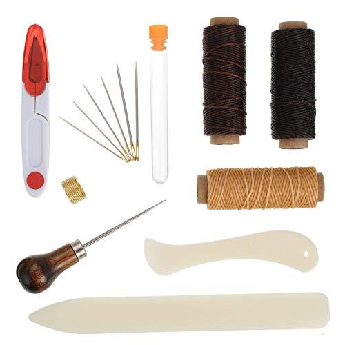 Lvcky 15Stück Buchbinden Kit Starter Tools Set Knochen Ordner Papier, bonefolder Falzbein, Gewachst Gewinde, Ahle, Large-Eye Nadeln für Heimwerker Buchbinden Basteln und Nähen Supplies