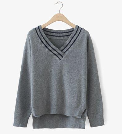 CJOY Pull à col-V, T-shirt manches longues à manches longues en coton à manches longues surdimensionnées (Gris)