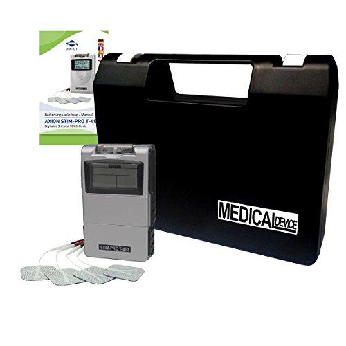 Elettrostimolatore TENS a 2 canali - Dispositivo professionale digitale - per trattamento del dolore o massaggio - 17 programmi - qualità axion