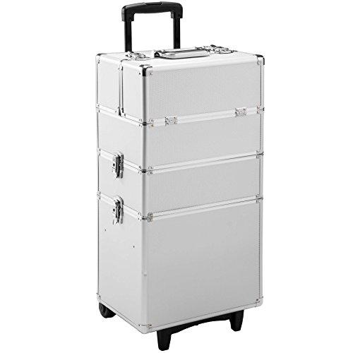 TecTake Alu Kosmetik Trolley Kosmetikkoffer Beauty Koffer | mit Teleskopgriff und 2 Rollen | abschließbare | 60 Lieter - diverse Farben - (Silber | Nr. 402563) -