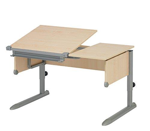 Kettler Kids Comfort ll Schülerschreibtisch – 6-fach höhenverstellbarer Kinderschreibtisch MADE IN GERMANY – flexible Tischplatte – höhen- und neigungsverstellbarer Schreibtisch – Ahorn & silber (Kinder-geteilte Platte)