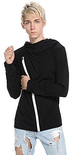 Whatlees Herren Urban Basic Design Langarm T-Shirt Kapuzenpullover mit Asymmetrische Ressverschluss und Kapuze B765-Black (Neue Womens Diesel)