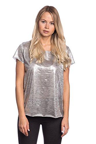 Abbino 2881-3 Maglietta Top Ragazza Donna - Made in Italy - 2 Colori - Primavera Estate Autunno Tshirt Classica Semplice Viscosa Manica Breve Saldi Blusa Maglia Tempo Libero Shirt - Argento
