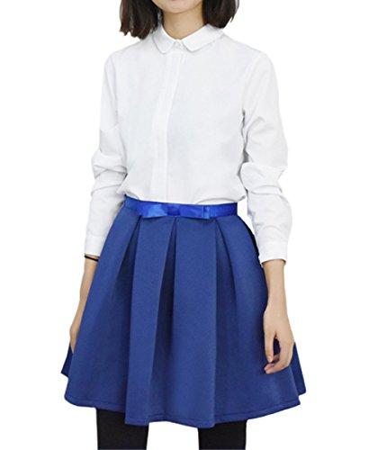 Purpura Erizo Damen Polyester Regular Fit Einfarbig Langarmbluse Weiß