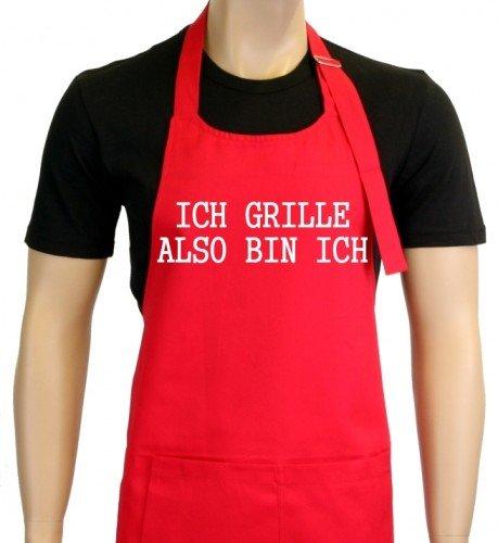 Je Grille – donc je suis. Tablier de barbecue Socrates dans vers. Couleurs – Griller – Barbecue Grill Tablier Sport Rouge Rouge