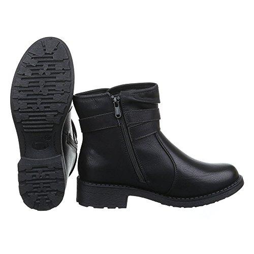 Ital-Design Damen Schuhe Schnallen DEKO Schlupfstiefel Reißverschluss Komfort Stiefeletten Stiefeletten Blockabsatz Schwarz
