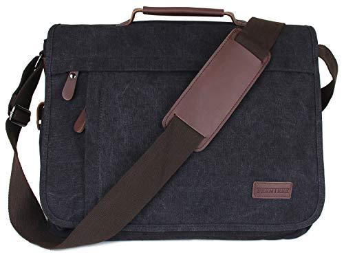 Frentree Umhängetasche praktische Allrounder Laptoptasche bis 15.6 Zoll Laptops Notebook Canvas Tasche -
