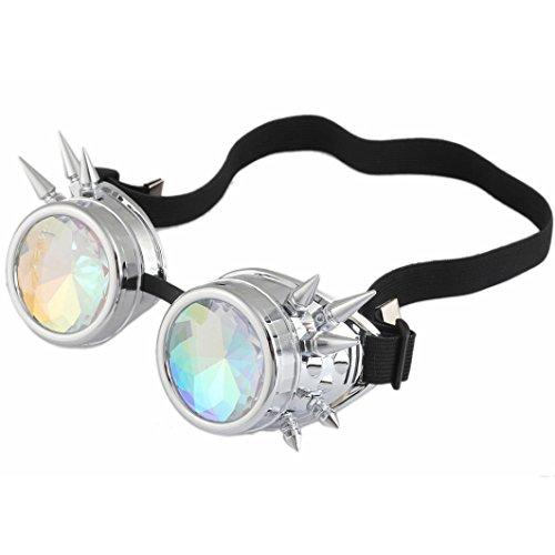 Kaleidoskop Nietengläser, ZARU Unisex Vintage Steampunk Sonnenbrille Bunte Gläser Rave Festival Partei Sonnenbrille Beugungslinse Runde Spiegelglas Sonnenbrillen (One Size, D) (Glas-kaleidoskop)