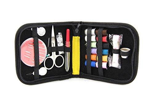 Raylinedo® Craft DIY Kit de costura con Caja de con cremallera para viaje, Home Incluye Agujas/threaders/Mini Tijeras/Pin De Seguridad/Colored Bobinas de Hilo/cinta/Dedales, Botones en varios colores, nailon, negro, 1 set