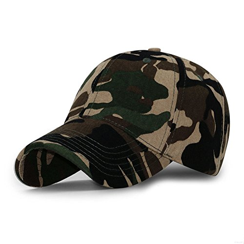 Camouflage Army Cap (GADIEMENSS Sports Hat Breathable Outdoor Run Cap Camo Baseball caps Shadow Structured hats (Coffee))