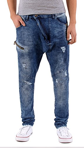 by-tex Herren Baggy Jeans Hose Slim Fit Jeans Hose Destroyed Look Chino Jeans Hose A444 A444