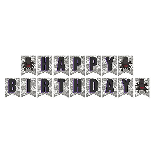 Blue Orchards Mining Fun Pixel-Spinnen-Jointed Banner, Mining Fun Party Supplies, Pixel Spider Birthday Banner