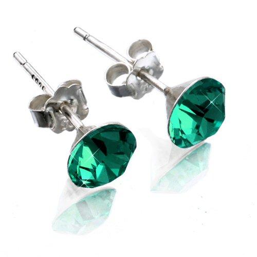 Solitario circonita pendientes cristal verde esmeralda 6mm plata de ley 925 sterling