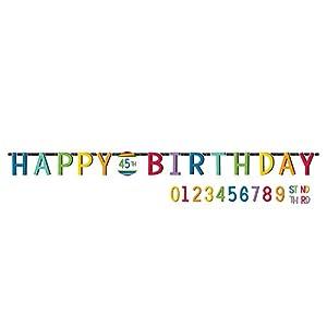 Amscan International-1202543,2m x 25cm), diseño de arco iris personalizado carta Banners