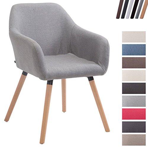 CLP Esszimmerstuhl ACHAT V2 mit Stoffbezug, Polsterstuhl mit Armlehne, Sitzfläche gepolstert, mit Bodenschonern, max. Belastbarkeit 150 kg, Grau, Gestellfarbe: Natura