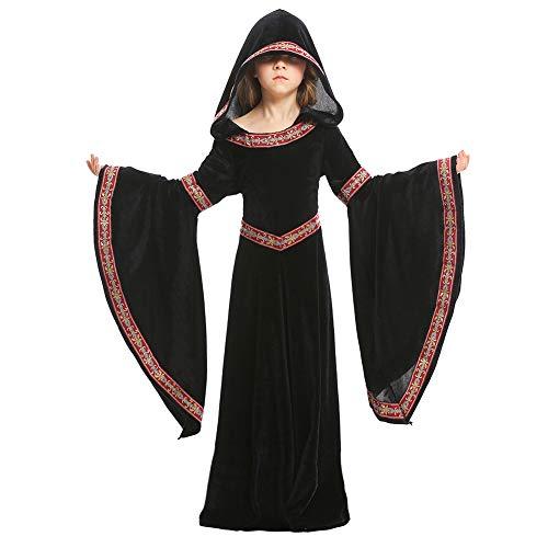 Hallowmax Halloween Gothic Vampire Kostüme für Kinder Mädchen Royal Deluxe Hooded Robe Costume, (Blutsauger Kind Kostüm)