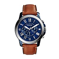 Fossil Grant Chronograph Blue Dial Brown Leather Watch for  Men  - FS5151