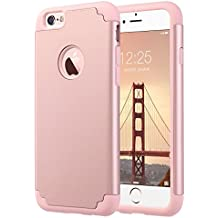 IPhone 6S caso, ULAK iPhone 6 caso Funda Carcasa de doble capa de protección delgado híbrido de piel de silicona cubierta de la caja para el iPhone 6 6S (4,7 pulgadas) (oro rosa)