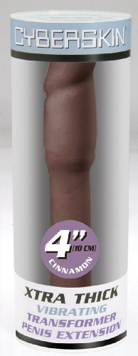 TOPCO CyberSkin 10 cm XXXtra dicke vibrierende Penis Verlängerung, Hautfarbe Dunkel, 1 Stück