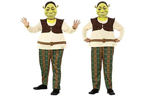 Fancy Dress World DreamWorks Shrek Deluxe Kostüm für Jungen, Grün, mit Rundringen und Eva-Maske, 41512 - Weltbuch-Tag, Kostüm, Party-Spaß (Shrek Und Fiona Kostüme)