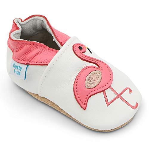 Dotty Fish weiche Leder Babyschuhe. Rutschfesten Wildledersohlen. 12-18 Monate (21 EU). Weiß mit rosa Flamingo.