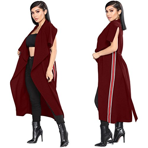 Yogogo Femmes Solid Color Open Front sans Manches Dragon Manteau Blazer Veste Cape Cardigan Trench Outwear Loose Cardigan Rouge