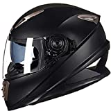 Qianliuk Erwachsene Schutz Helmit Doppel Linse Full Face MotorradHelm MotorradHelm mit sheld Lock System