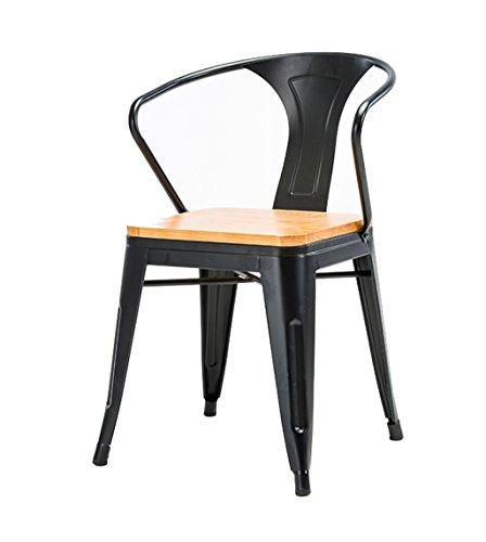 C-K-P Barhocker Massivholz Hohe Hocker Küche Esszimmer Stuhl Rückenlehne Hochstuhl Freizeit Sitz Retro Runden Tisch Retro Industriedesign (Farbe : SCHWARZ) -