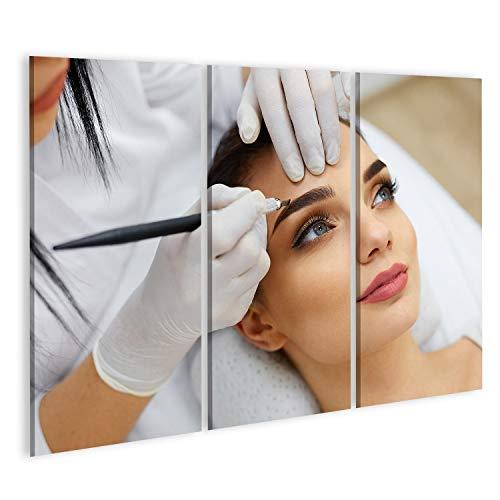 bilderfelix® Bild auf Leinwand Make-up. Kosmetikerin Hände tun Augenbraue Tattoo auf Frauengesicht.Permanentes Brauen Make-up im Kosmetiksalon. Nahaufnahme des Spezialisten für Augenbrauen-Tätowieru