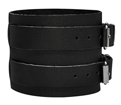 Bracelet Cuir Véritable Noir Force Double Fixation Acier Inoxydable Réglable 19-24cm Cameleon-Shop