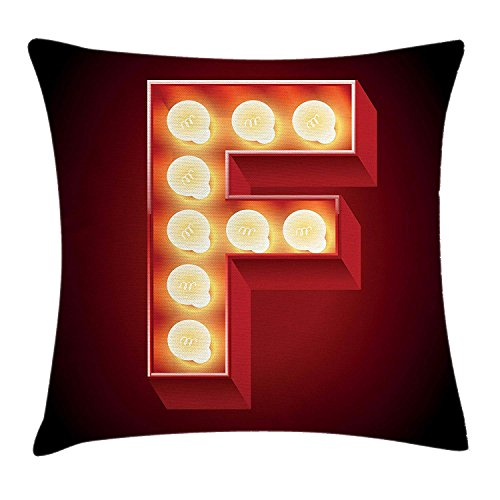 Letter F Throw Pillow Cushion Cover, Capital F Typescript Nightlife Disco Clubs Casino Movie Theater Font Print, Decorative Square Accent Pillow Case, 18 X 18 inches, Ruby Yellow Black Kings Crown Ruby
