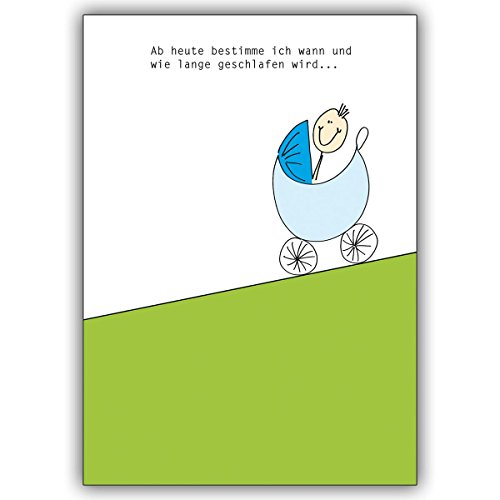 1 Babykarte: Lustige Babykarte mit Kinderwagen und Spruch zur Geburt eines kleinen Jungens • niedliche Willkommens Grußkarte, Gratulations-karte zur Geburt für Mutter und Kind, individuelle Babykarte für Mitarbeiter, Familie, Freunde