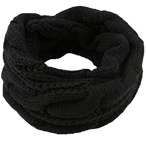 Männer Frauen Dicke Rippenstrick Winter Unendlichkeit Kreis Loop Schal, Soft & Warm Halstuch (Schwarz)