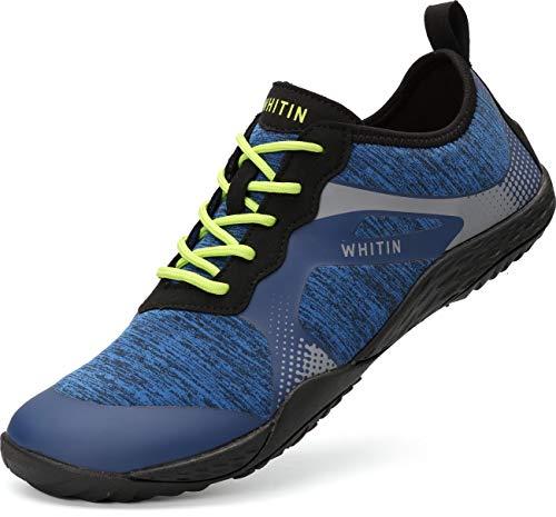 WHITIN Herren Barfussschuhe Traillaufschuh Barfuss Schuhe Barfußschuhe Minimalschuhe Zehenschuhe Zehen Trekkingschuhe Laufschuhe für Männer Walkingschuhe Neopren Barefoot Shoes Blau Größe 47 EU