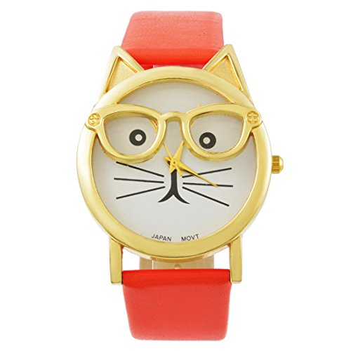 MJARTORIA Damen Katze Motiv Armbanduhr Elegant Lederarmband Modeschmuck Damenuhr Quarz Analog Uhr Rot