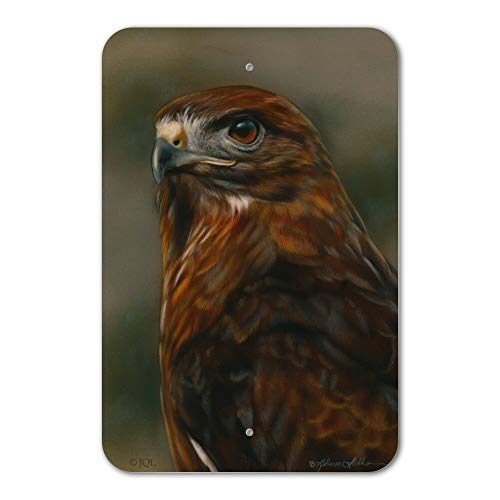UKSILYHEART Metal Sign 6x9 Inches Poster Plaque Funny Sign Red-Tailed Hawk Raptor Portrait Home Business Office Sign