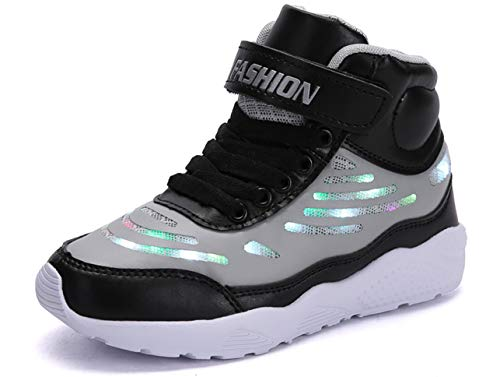 GJRRX LED Schuhe Kinder Leuchtschuhe mit Fernbedienung USB Aufladen Sneakers Turnschuhe Sportschuhe Jungen Mädchen Schwarz Grau Weiß Pink 26-36