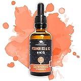 Vitamin D Tropfen hochdosiert und vegan mit Vitamin K2 MK7 in MCT-Öl Kokos - LABORGEPRÜFTE Markenqualität mit Gutachten - Vorratspackung 50ml - ohne Farb- oder Konservierungsstoffe