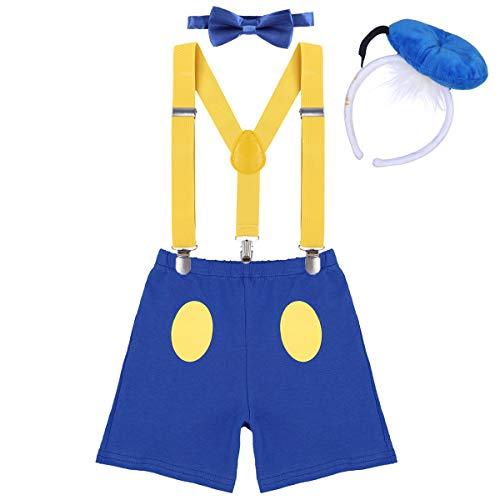 Kostüm Twin Cartoon - IWEMEK Baby 1. / 2./ 3. Geburtstag Kostüm Jungen Mädchen Donald Duck Karneval Cospaly Outfit Hosenträger Hosen mit Fliege Stirnband 3pcs / 4pcs Bekleidungssets Fotoshooting Cartoon 03 12-18 Monate