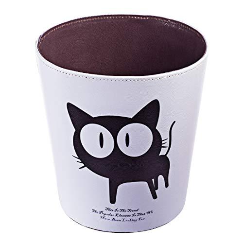 Rolanli 10L Papierkörb Cartoon-Muster Ledereimer Runde Wasserdichte Mülleimer für Küche Schlafzimmer Wohnzimmer - Weiß