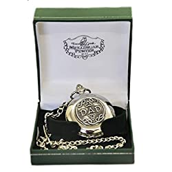 Mullingar Pewter Stainless Steel Pocket Watch With Celtic, Shamrock Design